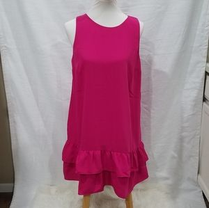 Loft Pink Ruffle Sleeveless Dress